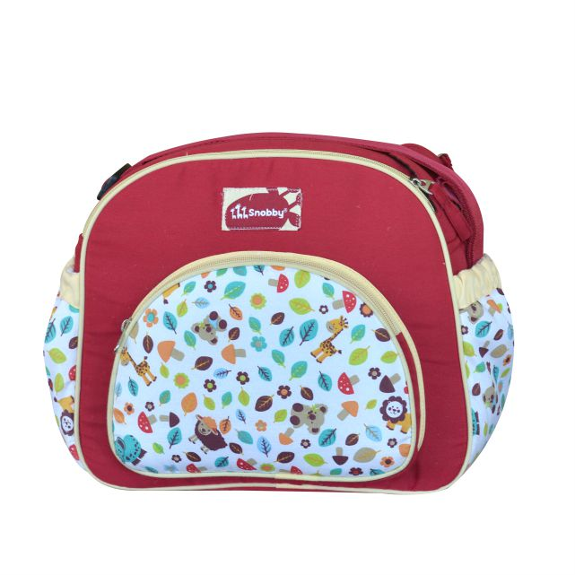 Tas Bayi Medium Zoo Series Merah Saku Oval Print